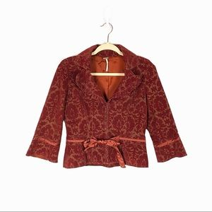 Free People Burgundy Corduroy Floral Print Jacket